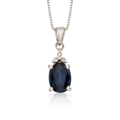 .85 Carat Sapphire Pendant Necklace with Diamonds in 14kt White Gold