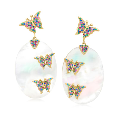 Mother-Of-Pearl and 3.20 ct. t.w. Multicolored CZ Butterfly Drop Earrings in 18kt Gold Over Sterling