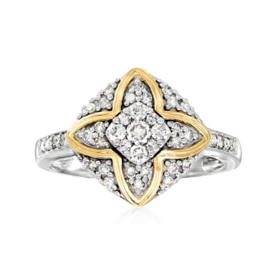 .45 ct. t.w. Diamond Ring in Sterling Silver with 14kt Yellow Gold
