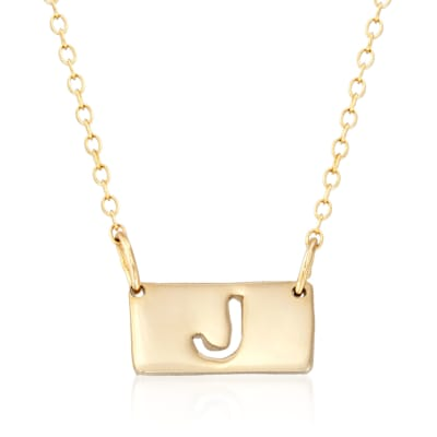 24kt Gold Over Sterling Silver Single Block Initial Bar Necklace