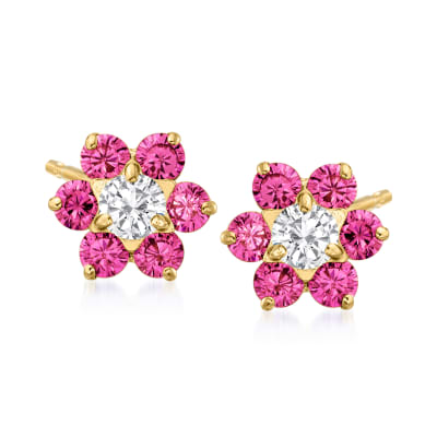 Child's .40 ct. t.w. Simulated Ruby and .20 ct. t.w. CZ Flower Earrings in 14kt Yellow Gold