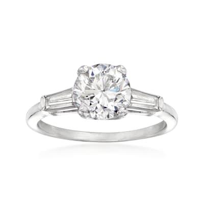 C. 1980 Vintage 2.67 ct. t.w. Diamond Ring in Platinum
