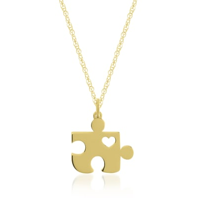 14kt Yellow Gold Puzzle Piece Pendant Necklace