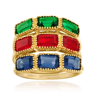 1.50 ct. t.w. Simulated Multi-Gemstone Jewelry Set: Three Rings in 18kt Gold Over Sterling