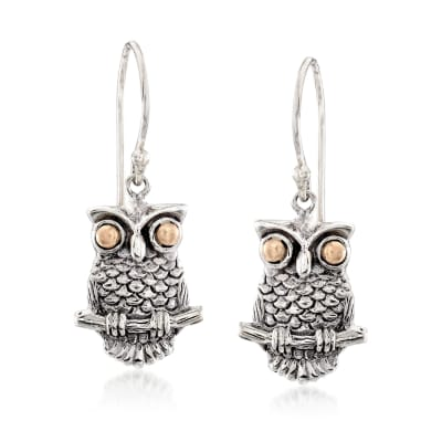 Two-Tone Sterling Silver Owl Drop Earrings