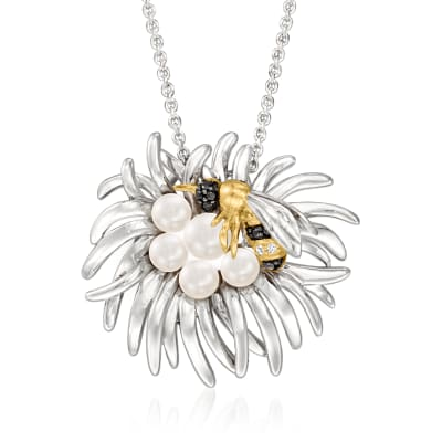 3.5-5mm Cultured Pearl Bee and Flower Necklace in Two-Tone Sterling Silver