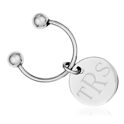 Sterling Silver  Round Engravable Key Chain