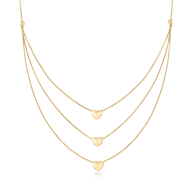 14kt Yellow Gold Triple-Strand Heart Necklace
