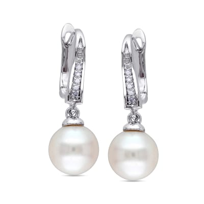 8-8.5mm Cultured Pearl Drop Earrings with Diamond Accents in Sterling Silver