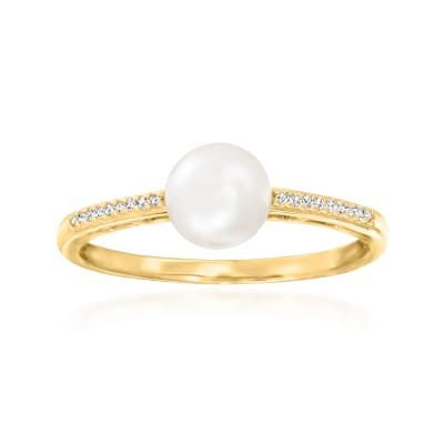 6mm Cultured Pearl Ring with Diamond Accents in 14kt Yellow Gold
