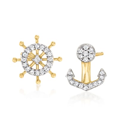 .10 ct. t.w. Diamond Nautical Mismatched Earrings in 14kt Yellow Gold