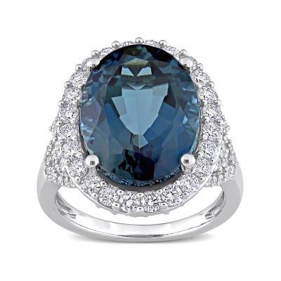 12.00 Carat London Blue Topaz Ring with 1.41 ct. t.w. Diamonds in 14kt White Gold