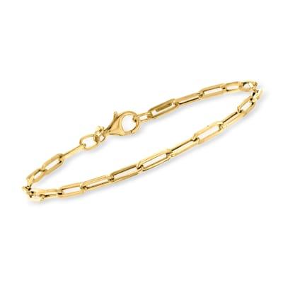 Italian 14kt Yellow Gold Paper Clip Link Bracelet