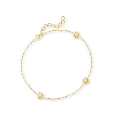 .24 ct. t.w. Diamond Sun Station Anklet in 14kt Yellow Gold