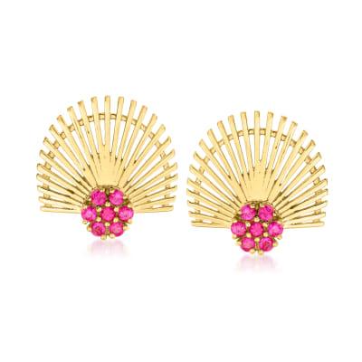 .90 ct. t.w. Ruby Fan Earrings in 18kt Gold Over Sterling