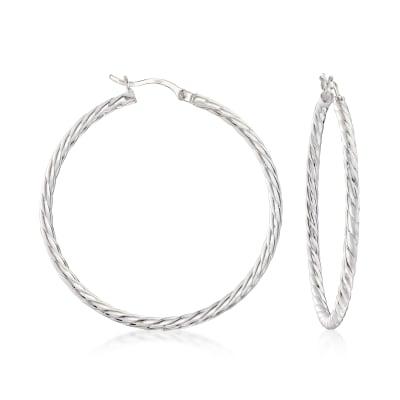 Sterling Silver Cabled Hoop Earrings