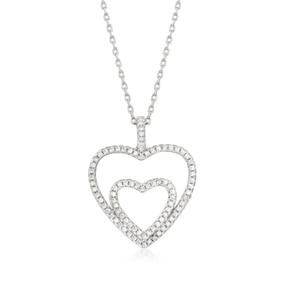 .90 ct. t.w. CZ Double-Heart Pendant Necklace in Sterling Silver