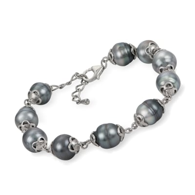 9-9.5mm Cultured Tahitian Pearl Bracelet in Sterling Silver
