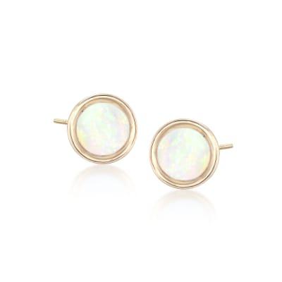 5mm Bezel-Set Opal Stud Earrings in 14kt Yellow Gold