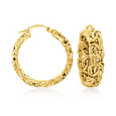 18kt Gold Over Sterling Small Byzantine Hoop Earrings