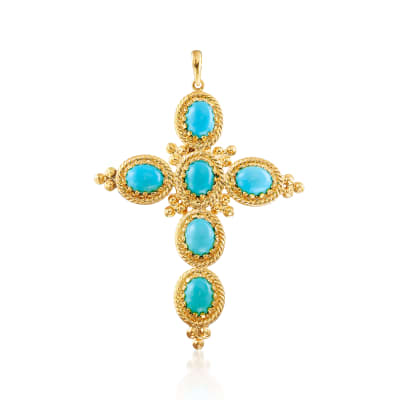 Italian Turquoise Cross Pendant in 18kt Gold Over Sterling