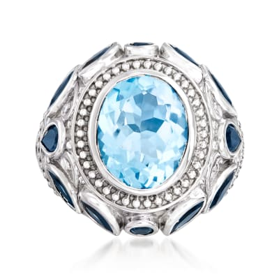 8.30 ct. t.w. Sky and London Blue Topaz Ring in Sterling Silver