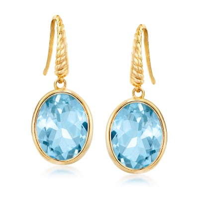 6.50 ct. t.w. Sky Blue Topaz Drop Earrings in 14kt Yellow Gold