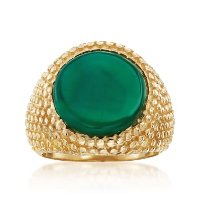 Italian Green Agate Ring in 18kt Gold Over Sterling