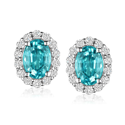 2.40 ct. t.w. Blue Zircon and .40 ct. t.w. Diamond Earrings in 14kt White Gold
