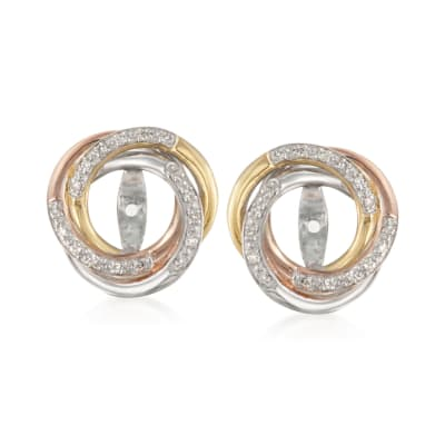 .10 ct. t.w. Diamond Swirl Earring Jackets in Tri-Colored Sterling Silver