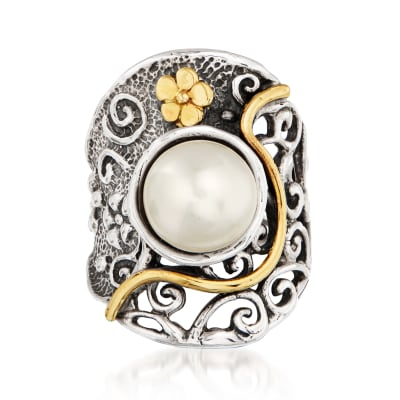9.5-10mm Cultured Pearl Floral Ring in Sterling Silver and 14kt Yellow Gold