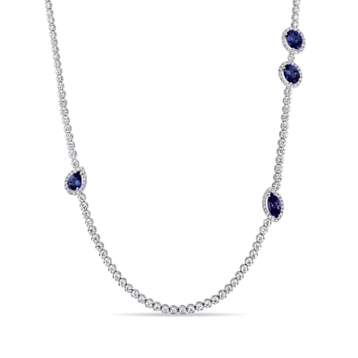 10.53 ct. t.w. Tanzanite and 8.05 ct. t.w. Diamond Necklace in 18kt White Gold