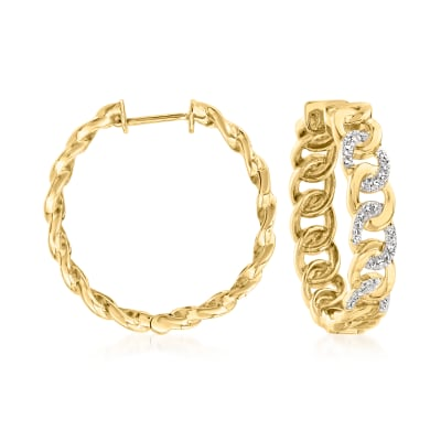 .15 ct. t.w. Diamond Link Hoop Earrings in 18kt Gold Over Sterling
