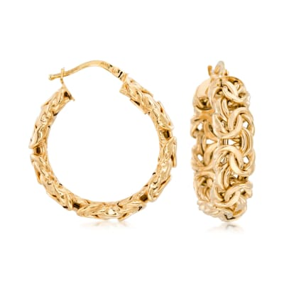 Italian 14kt Yellow Gold Byzantine Hoop Earrings