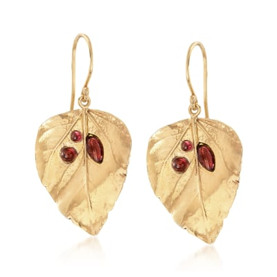 1.40 ct. t.w. Garnet Leaf Drop Earrings in 18kt Gold Over Sterling