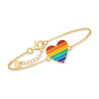 Rainbow Enamel Heart Bracelet in 18kt Gold Over Sterling