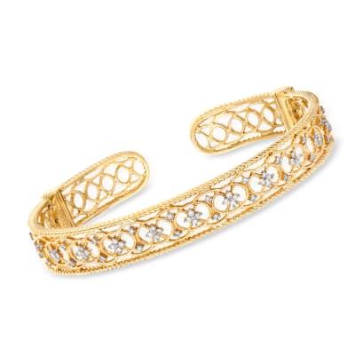 Gabriel Designs .52 ct. t.w. Diamond Openwork Filigree Cuff Bracelet in 14kt Yellow Gold