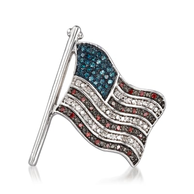 .25 ct. t.w. Red, White and Blue Diamond American Flag Pin in Sterling Silver