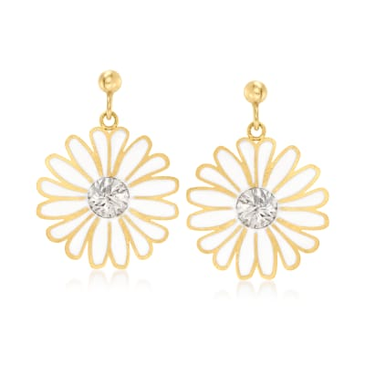 Italian 14kt Two-Tone Gold and White Enamel Daisy Drop Earrings