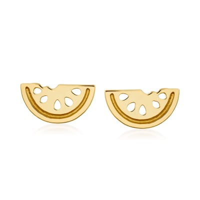 14kt Yellow Gold Watermelon Stud Earrings