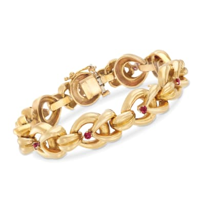 C. 1980 Vintage Tiffany Jewelry 1.00 ct. t.w. Ruby and 18kt Yellow Gold Link Bracelet