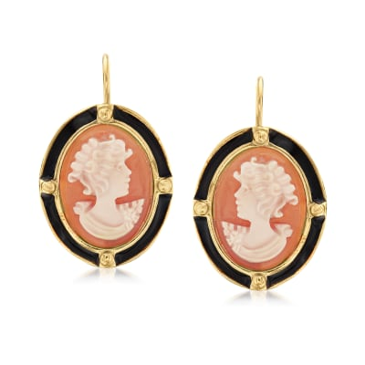 Italian Orange Shell Cameo Drop Earrings with Black Enamel in 18kt Gold Over Sterling