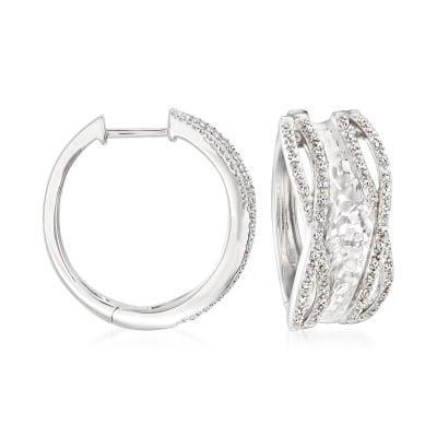 .25 ct. t.w. Diamond Hammered Hoop Earrings in Sterling Silver