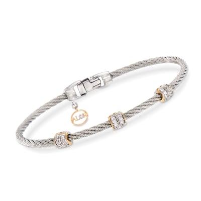 """ALOR """"Classique"""" .21 ct. t.w. Diamond Gray Stainless Steel Cable Bracelet"""