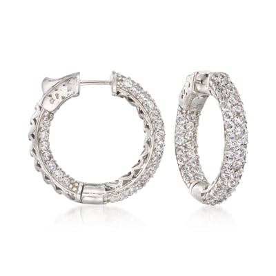 4.00 ct. t.w. CZ Inside-Outside Medium Hoop Earrings in Sterling Silver