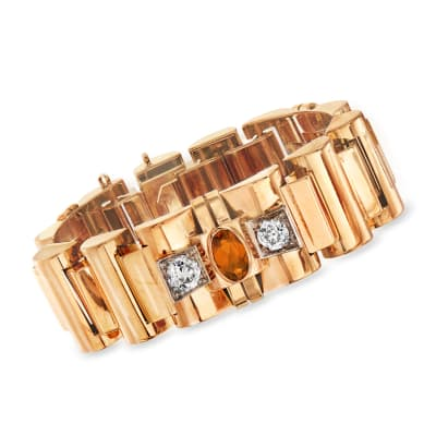 C. 1940 Vintage 3.45 ct. t.w. Citrine and 2.90 ct. t.w. Diamond Section Bracelet in 18kt Yellow Gold