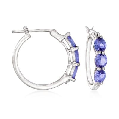 1.80 ct. t.w. Tanzanite Hoop Earrings in Sterling Silver