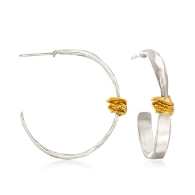 Two-Tone Sterling Silver Wrapped Hoop Earrings