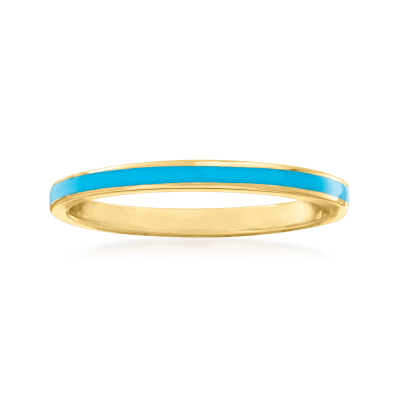 Turquoise Enamel and 14kt Yellow Gold Ring