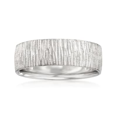 Men's 7mm 14kt White Gold Vertical Grooved Wedding Band